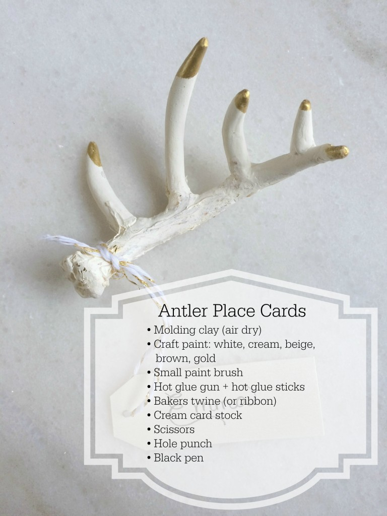 Grand Rapids Wedding Planner and Floral Designer - DIY Antler Place Card Favor- Gold Faux Antler Place Card Favor - Supplies
