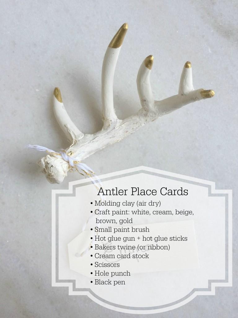 Grand Rapids Wedding Planner and Floral Designer - DIY Antler Place Card Favor- Gold Faux Antler Place Card Favor - Supplies