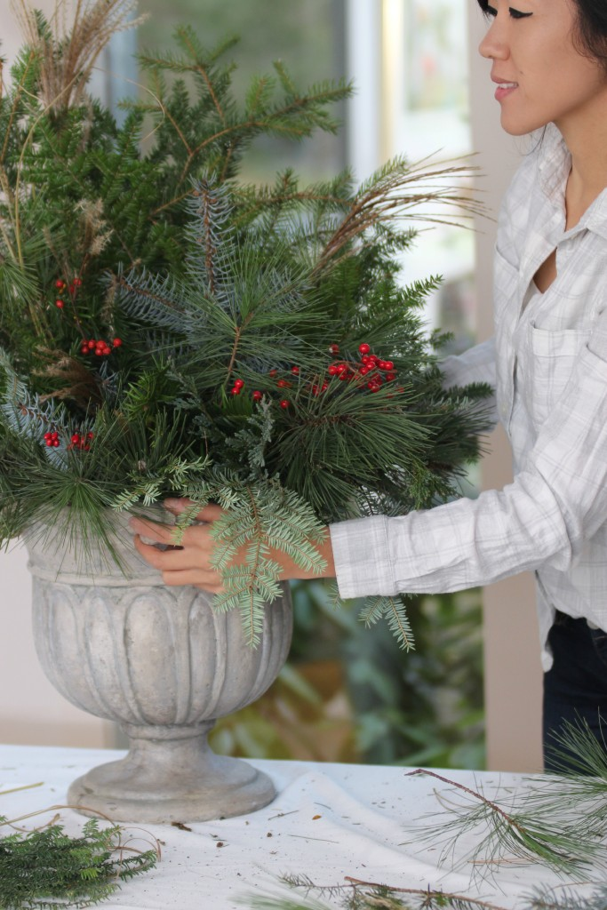 Grand Rapids Wedding Planner and Floral Designer - DIY Holiday Planter - Christmas evergreen and berry planter or urn - Step 8