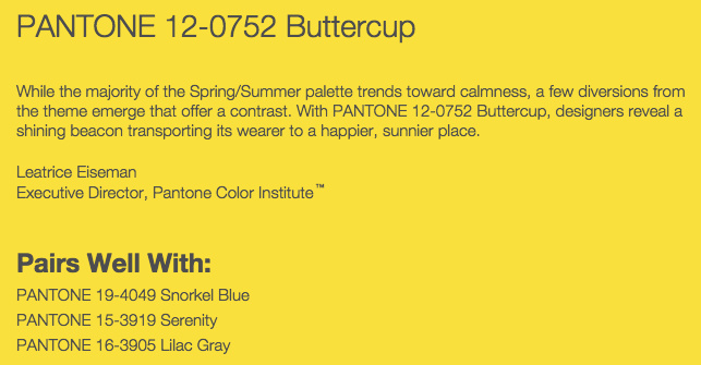 Grand Rapids Wedding Planner and Floral Designer - Pantone's colors for Spring 2016 - Buttercup 12-0752
