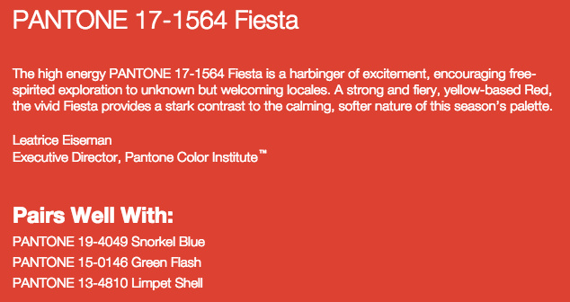 Grand Rapids Wedding Planner and Floral Designer - Pantone's colors for Spring 2016 - Fiesta 17-1564