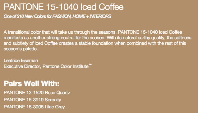 Grand Rapids Wedding Planner and Floral Designer - Pantone's colors for Spring 2016 - Iced Coffee 15-1040