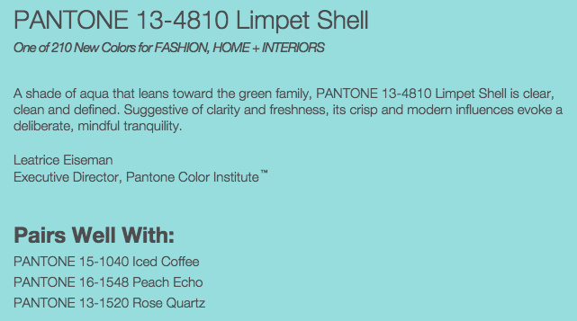 Grand Rapids Wedding Planner and Floral Designer - Pantone's colors for Spring 2016 - Limpet Shell 13-4810