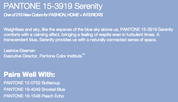 Grand Rapids Wedding Planner and Floral Designer - Pantone's colors for Spring 2016 - Serenity 15-3919