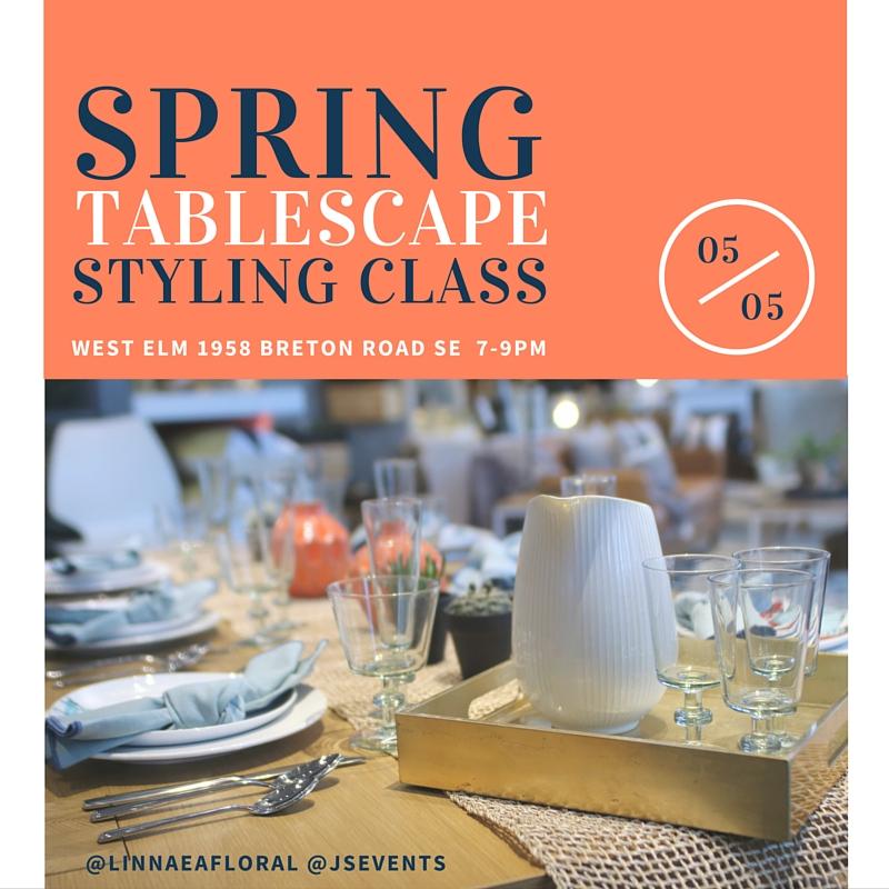 JS Weddings and Events Grand Rapids Wedding Planner and Floral Designer - Styling Tabslecape workshop West Elm