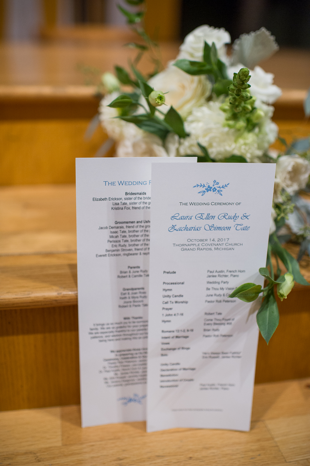 JS Weddings and Events, a Grand Rapids Wedding Planner and Floral Designer. Downtown Grand Rapids McKay Ballroom Fall Wedding Romantic Blush Blue.