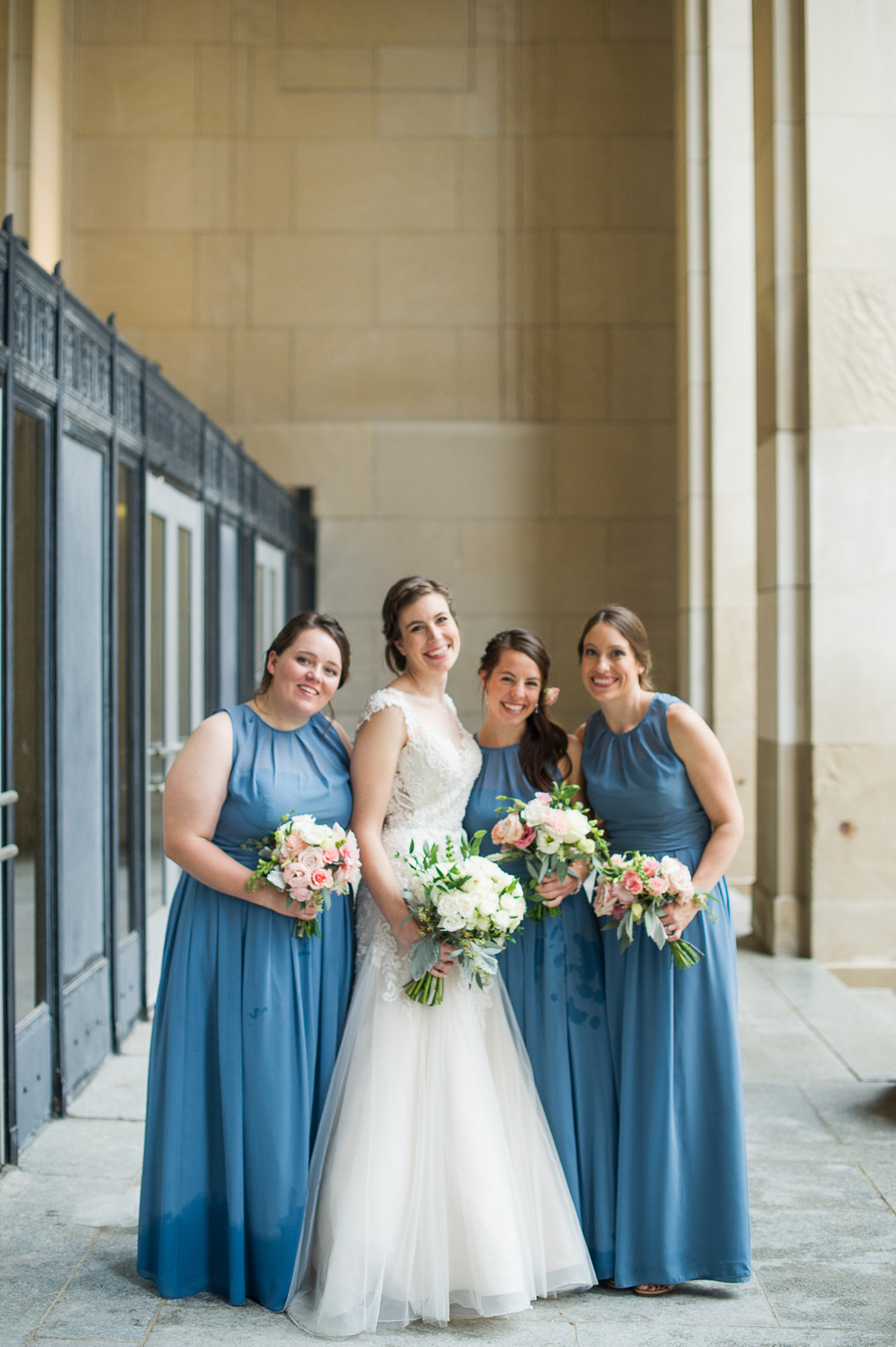 JS Weddings and Events, a Grand Rapids Wedding Planner and Floral Designer. Downtown Grand Rapids McKay Ballroom Fall Wedding. A romantic blush and blue palette.
