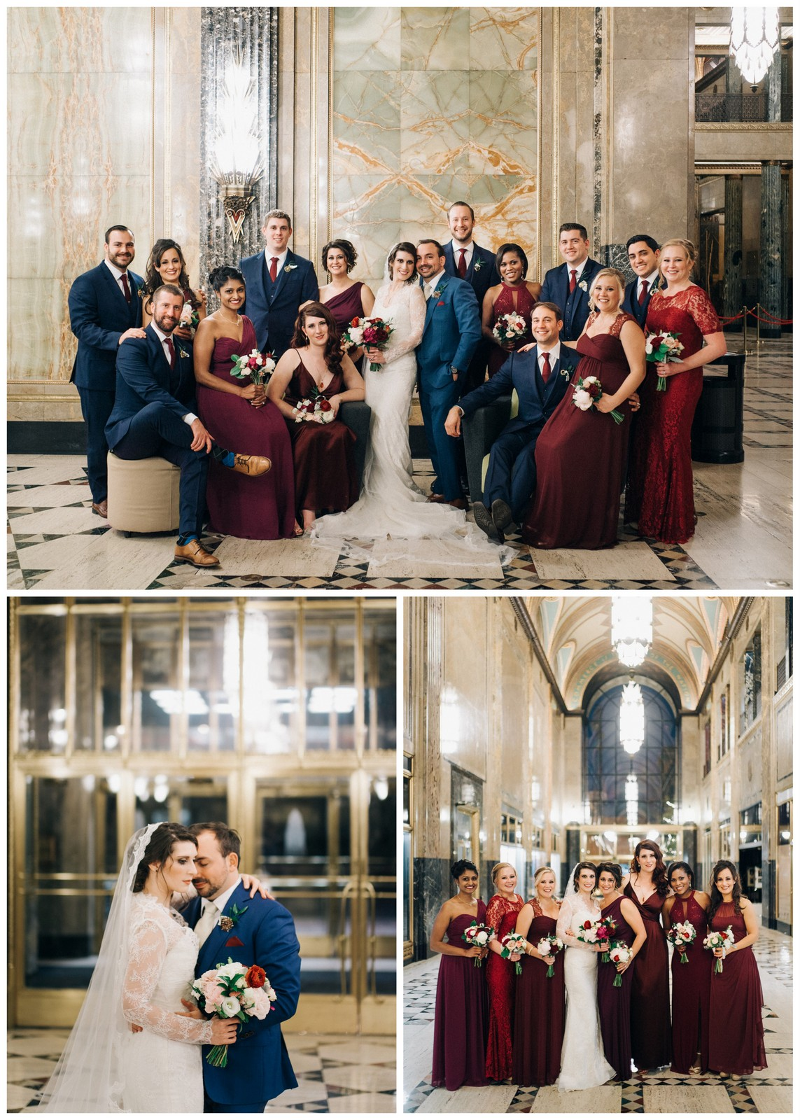 JS Weddings and Events, Grand Rapids Wedding planner and Michigan Floral Designer. An old world vintage winter wedding in Downtown Detroit at the Colony Club with gold, Burgundy and navy blue.